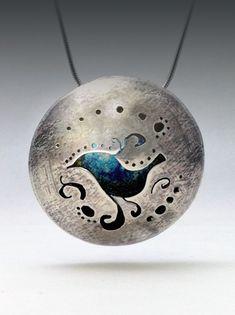 Sterling Silver Hollowform Pendant, Patina