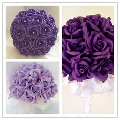 purple wedding bouquets. This would look pretty against the coral dresses.