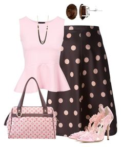 A fashion look from June 2015 featuring pink peplum shirt, dot skirt and oscar de la renta pumps. Browse and shop related looks. Classy Dress, Classy Outfits, Chic Outfits, Moda Outfits, Modelos Fashion, Complete Outfits, Look Chic, Mode Style, Work Fashion