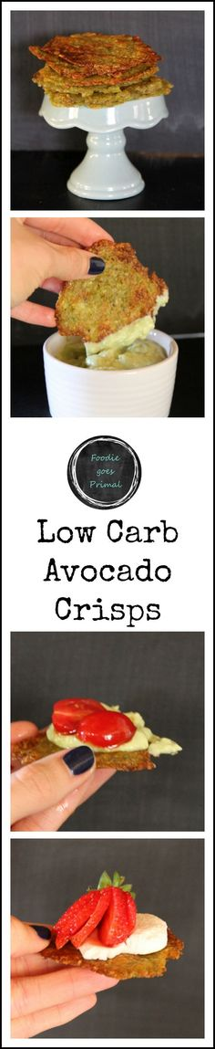 Low Carb Avocado Crisps - ripe Hass avocados, salt, finely grated hard cheese (e.g. Grana Pedana/Parmesan), lemon zest, black pepper
