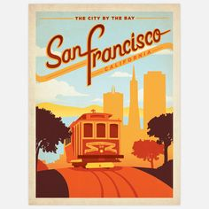 Joel Anderson - San Francisco, California - The city of the bay #vintage #travel #poster #USA