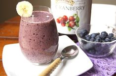 Detox Blueberry Fruit Smoothie Recipe Beverages with frozen blueberries, cranberry juice, bananas