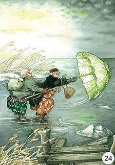 Oma's met paraplu hebben plezier!