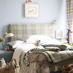 To create a peaceful room that will induce sleep and feelings of calm, choose shades inspired by the gentle colours of nature – soft blues and greens and earthy greys all have a restful quality.