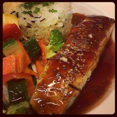 Bourbon barbecue grilled salmon; Full Menu: http://highlineballroom.com/menu/