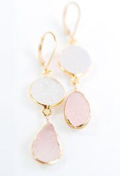 cool Kalala earrings - pink druzy gold earring, pink white drop earring,dangle earrin...