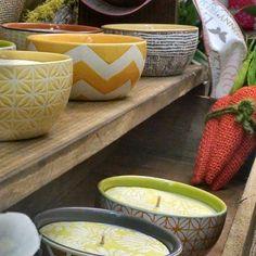 Spring fair, ceramic bowl $14 #colorfulbowlcandle, #lalucecandleshop #lalucecandles