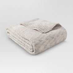 King Sweater Knit Bed Blanket Sour Cream/Hot Coffee - Threshold™ : Target