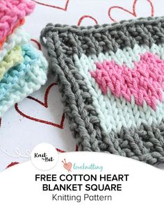 Knit by Bit: Cotton Heart blanket square knitting pattern