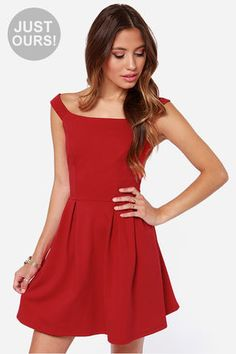 L' Shanell Fashion Find! LULUS Exclusive Be Direct Off-the-Shoulder Red Dress at LuLus.com!