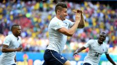 Olivier Giroud (FRA) - Goal - Switzerland vs France - Group E 20 June 2014 France Team, Laws Of The Game, International Football, World Cup 2014, Fifa, Competition, Meet, Goals, Couple Photos