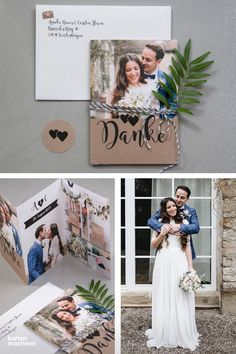 """Dankeskarte Hochzeit """"Piktogramm"""" Are you still looking for thank you cards? With our design """"calligraphy heart"""" you can combine the kraft paper look, great typography and your photos. Diy Invitations, Invitation Cards, Wedding Thank You, Wedding Cards, Calligraphy Heart, Calligraphy Cards, Diy Décoration, Online Dress Shopping, Kraft Paper"""