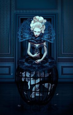 Natalie Shau is illustrator and photographer from Vilnius, Lithuania. Her gothic horror fiction, fairy tales and Russian classics are among the influences she lists for her surreal and nonsense worx. She mixes photography, digital painting and Art And Illustration, Foto Fashion, Fashion Art, High Fashion, Dark Fashion, Fashion Shoot, Marie Antoinette, Mode Baroque, Dark Black