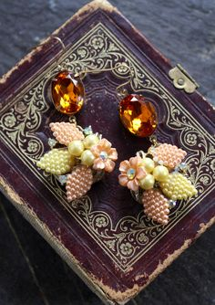 Pale yellow and peach vintage Assemblage Earrings converted clip on floral beaded springtime spring amber topaz Swarovski jewelry retro drop by OldNouveau on Etsy