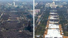 Bij de inauguratie of de eedaflegging van Trump zakten naar schatting een kwart tot een half miljoen mensen af naar Washington. Ter vergelijking: naar de eerste inauguratie van Barack Obama kwamen 1,8 miljoen mensen kijken. De foto's laten het opmerkelijke verschil duidelijk zien. Trump beweert dat de media liegen over de opkomstcijfers, maar de beelden spreken voor zich.