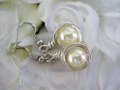Ivory Cream Pearls Wire Wrapped Earrings - Gorgeous!
