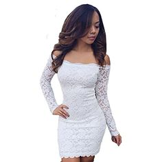 I absolutely love this right white lacve dress.  It is classy, elgent and sophisticated while being under $10.  JiTM Womens Sexy Off-Shoulder Long Sleeve Lace Slim Dress S