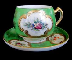 Occupied Japan Floral Cameo Hand Painted Demitasse Cup and Saucer