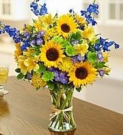 Fields of Europe™ for Summer - Sunflowers, delphinium, alstroemeria, yarrow, monte casino and more. Inspired by the picturesque flower fields of Provence and Tuscany. Summer Flower Arrangements, Sunflower Arrangements, Sunflower Bouquets, Blue Bouquet, Beautiful Flower Arrangements, Summer Flowers, Fresh Flowers, Silk Flowers, Floral Arrangements