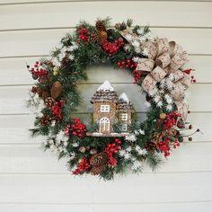 Christmas Wreath Winter Wreath Rustic Wreath by BrandyByDesignLtd Christmas Door, Rustic Christmas, Christmas Wreaths, Christmas Crafts, Christmas Decorations, White Christmas, Holiday Decor, Christmas Sale, Xmas