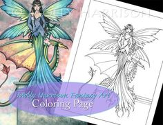 Fairy and Dragon - Digital Stamp - Printable - Adult Coloring Page - Molly Harrison Fantasy Art - Digistamp Coloring Page - x 11 Fairy Pictures, Printable Adult Coloring Pages, Mermaid Art, Dragon Art, Fairy Art, Collage Sheet, Digital Stamps, Coloring Books, Fantasy Art