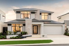 The Koda - Display Homes Perth - Ben Trager Homes Modern Exterior House Designs, Latest House Designs, Dream House Exterior, Modern House Design, Modern House Facades, Double Storey House, 2 Storey House Design, House Front Design, Beautiful House Plans