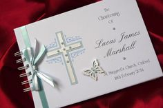 Personalised Boxed/Unboxed Christening Guest Book/Memory Book Album (1539BKBL) #TheSpecialCardCompany
