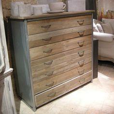 Commode en bois et métal 7 tiroirs Bâle Hanjel