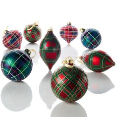 Jeffrey Banks Plaid Tidings Set of 8 Glass Ornaments