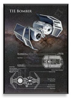 TIE Bomber Poster Star Wars Ship Star Wars by PatentPrintsPosters