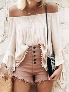 Cute Teenage Summer Outfits for Beach, Vacation or School - Layered Gold Necklace - High Waisted Shorts and White Boho Off the Shoulder Crop Top - MyBodiArt.com