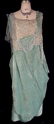 c. 1918 Light Blue Crushed Velvet and Metallic Lace Evening Dress