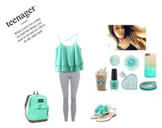 """""""Mint and her """" by xoxo-rida ❤ liked on Polyvore featuring Topshop, Rupert Sanderson, Aéropostale, Liz Claiborne, Eos, OPI and JanSport"""