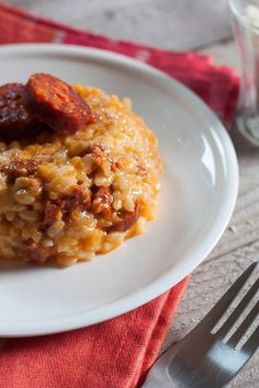 Risotto chorizo ​​way Cyril Lignac Chefs, Cooking Chef, Cooking Recipes, Healthy Recipes, I Love Food, Good Food, Yummy Food, Risotto Receita, Food Porn