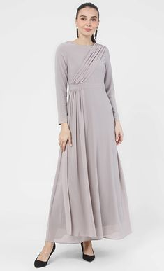 Maaike Draped Sash Chiffon Dress in Slate Grey