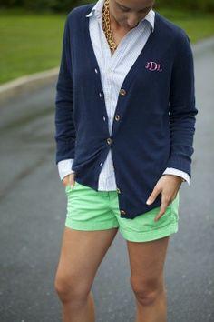 blue pin stripe oxford, green chino shorts, navy cardigan