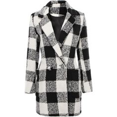 Yoins Tartan Wool Coat-Grey  S/M/L ($41) ❤ liked on Polyvore featuring outerwear, coats, jackets, yoins, coats & jackets, tartan coat, gray coat, woolen coat, grey coat and grey wool coat