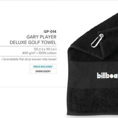 Gary Player Deluxe Golf Towel Code: GP-014 400 g m² 100% cotton 50 ( l ) x 30 ( w ) FREE EMBROIDERY ON TOWEL by best Best Branding Setup cost applies. Golf Towels, Golf Gifts, Golf Accessories, Corporate Gifts, Branding, Gift Ideas, Embroidery, Cotton, Free