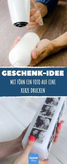 Mit Föhn ein Foto auf eine Kerze drucken. DIE Geschenk-Idee!