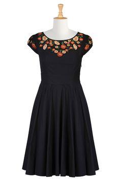 Floral Embellished Poplin Dresses | eShakti