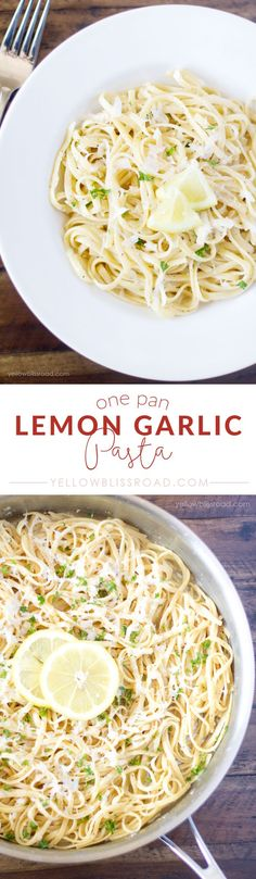 Getting a meal on the table in 20 minutes can be a challenge, but with this easy one Pan Lemon Garlic Pasta, it doesn't have to be. Pasta, lemon and garlic all cook together in one pan - making clean-up a snap! Think Food, I Love Food, Food For Thought, Good Food, Yummy Food, Vegetarian Recipes, Cooking Recipes, Healthy Recipes, Simple Pasta Recipes