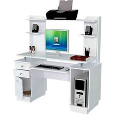 Office Desk With Hutch, Computer Desk With Hutch, Office Computer Desk, Office Workspace, Home Office Desks, White Office Furniture, Built In Furniture, Furniture Sale, Contemporary Office Desk