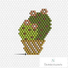 Diagramme Brick Stitch : Cactus - Idées conseils et tuto Brick Stitch Peyote Stitch Patterns, Hama Beads Patterns, Beaded Jewelry Patterns, Beading Patterns, Color Patterns, Mosaic Patterns, Tutorial Punto Peyote, Brick Stitch Tutorial, Art Perle