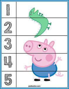 Peppa Pig Number Puzzles - Activities For Toddlers Autism Activities, Montessori Activities, Preschool Worksheets, Infant Activities, Preschool Activities, Math For Kids, Puzzles For Kids, Toddler Learning, Early Learning