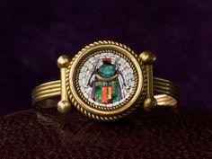 1880s Victorian Micromosaic Beetle Ring, 15K