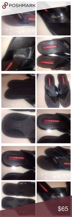 PRADA sandals shoes thong prada flip flop men wome P r a d a • flip flops • sandals for men NEW • not authentic • size 10 would fit a 11 too! black• faux leather Prada Shoes