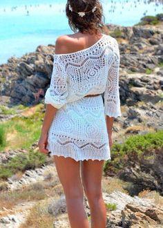 Ibiza Strandkleid Tunika Häkelkleid Boho Hippie Style in weiß Gr.S