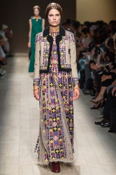 To Make a Sneaky Late Snow Day Look Brighter in Patterned Shearling and Peasant Skirts.   Valentino Spring 2014 Ready-to-Wear Collection Slideshow on Style.com