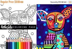 20% Off Chihuahua coloring book pages adult by HeatherGallerArt