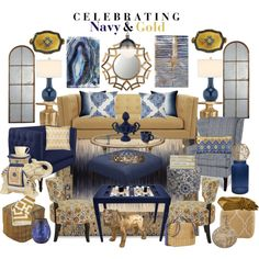 Celebrating Navy & Gold by aprimmdesign on Polyvore featuring polyvore, interior, interiors, interior design, home, home decor, interior decorating, Kravet, Pier 1 Imports, Surya, Buccellati, Capel Rugs, Williams-Sonoma, Jonathan Adler, Wedgwood, Uttermost, Inca, Linea, Missoni Home, Zara Home, Trina Turk LA, Waterford, Worlds Away, Mark Cross and Oliver Gal Artist Co.